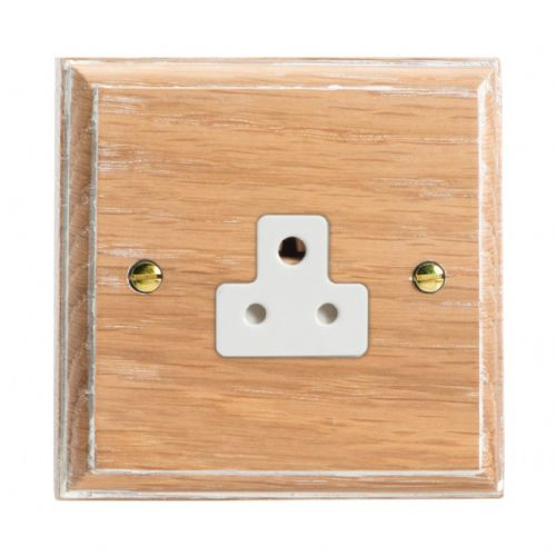 Varilight XKRPLOW Kilnwood Limed Oak 1 Gang 2A Round Pin Plug Socket